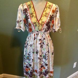 Arden B Floral Satin Like Short Sleeve Dress